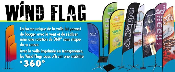 Drapeaux publicitaires Wind Flag - Cliquez Pub